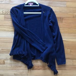 Lilly Pulitzer Cashmere Wrap Cardigan with fringe